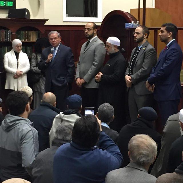 New Jersey Senator Robert Menendez speaking to the congregants athellip